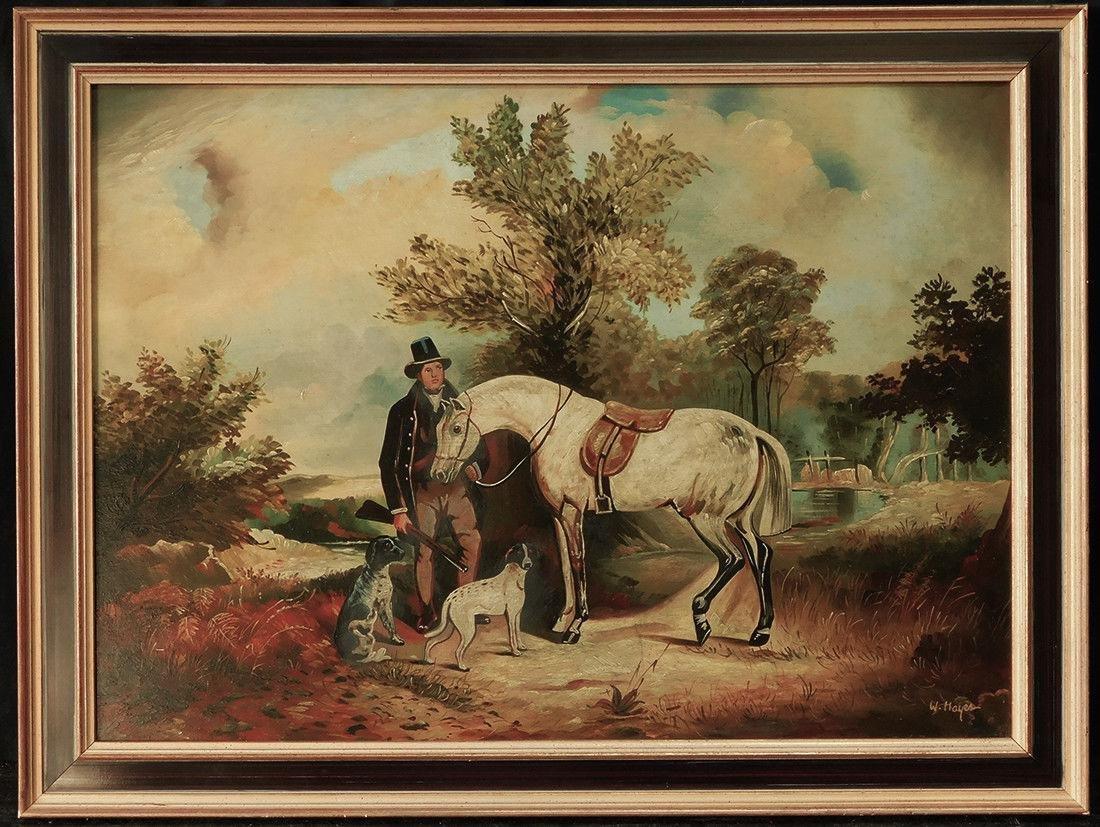 "Early 20th Century British Oil ""Portrait of Hunter"""
