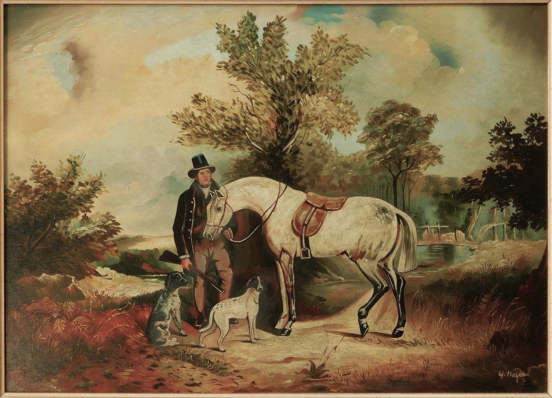 "Early 20th Century British Oil ""Portrait of Hunter"" - 2"