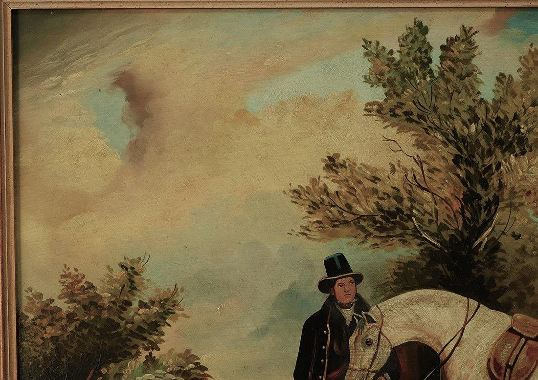 "Early 20th Century British Oil ""Portrait of Hunter"" - 3"