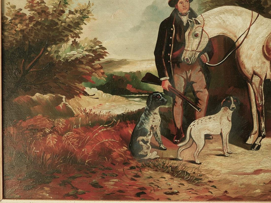 "Early 20th Century British Oil ""Portrait of Hunter"" - 4"