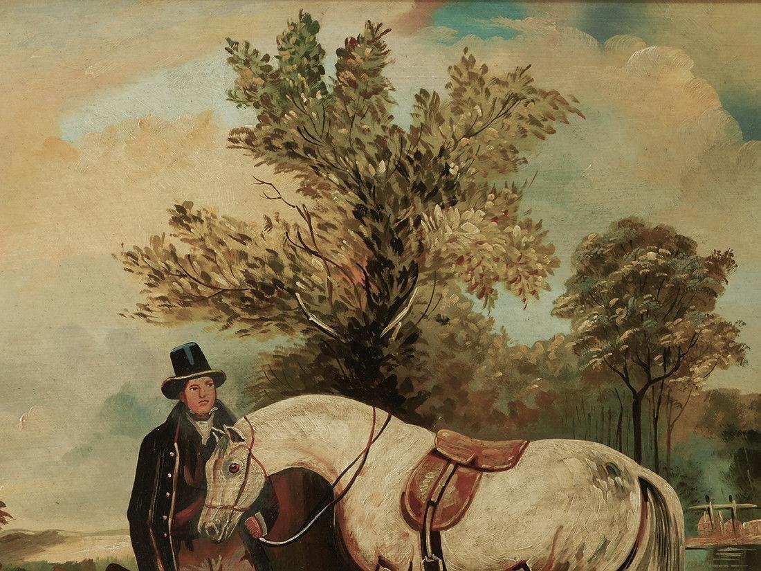 "Early 20th Century British Oil ""Portrait of Hunter"" - 7"