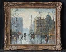 "Vintage American Impressionist Oil ""Raining In New York"