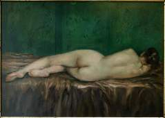 """Old Oil Painting on Copper """"Sleeping Nude"""""""