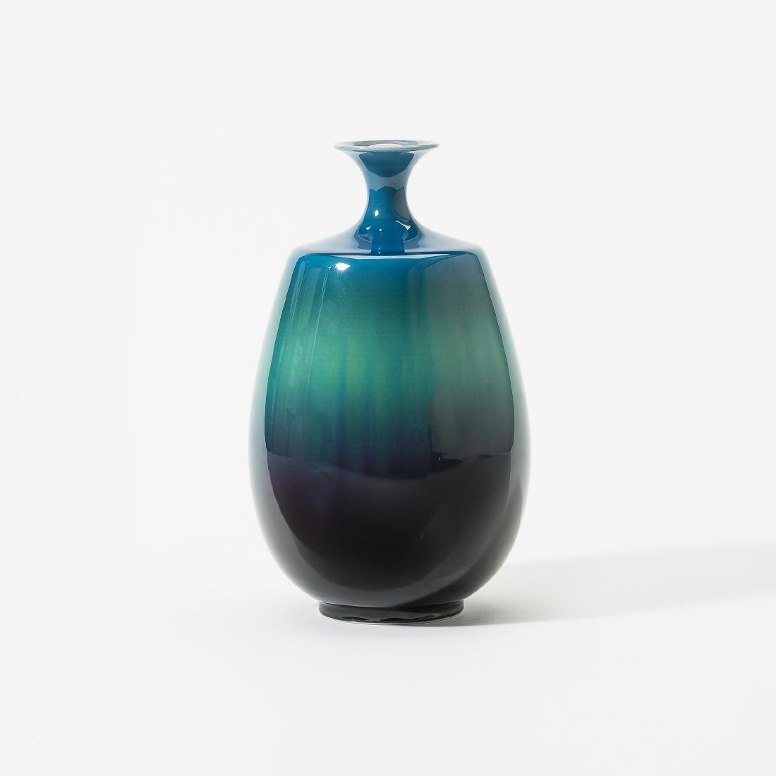 A Japanese blue, green and purple glazed vase