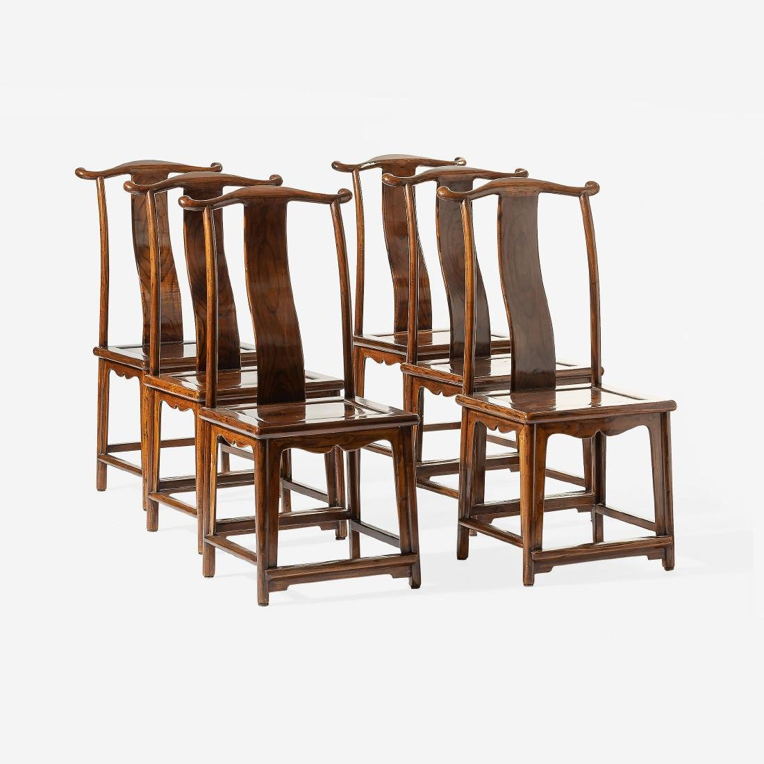 A Set Of Six Chinese Wooden U0027officialu0027s Hatu0027 Chairs