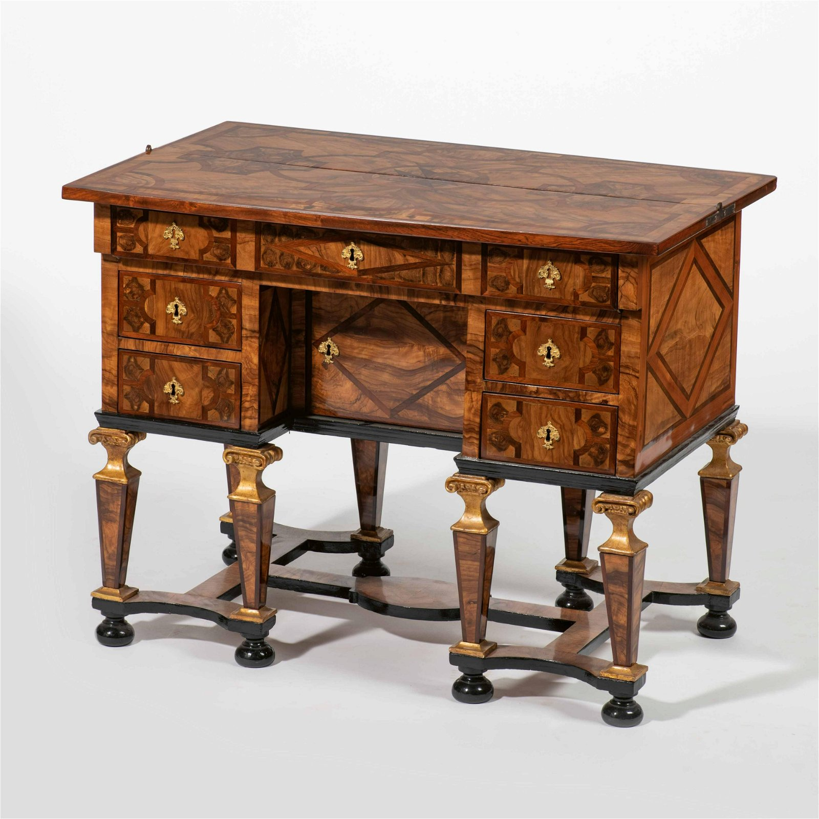 A fine Louis XIV olive and Rio rosewood marquetry