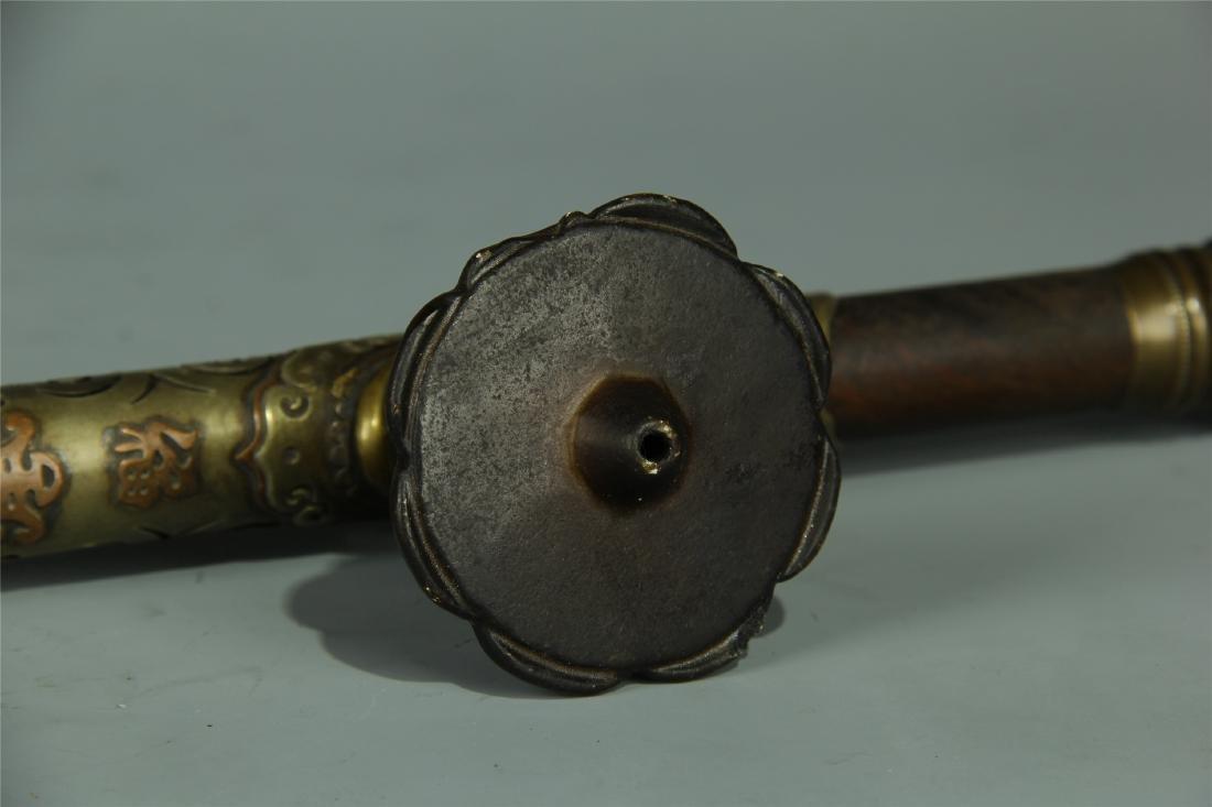HARDWOOD BRONZE COATED OPIUM PIPE - 4
