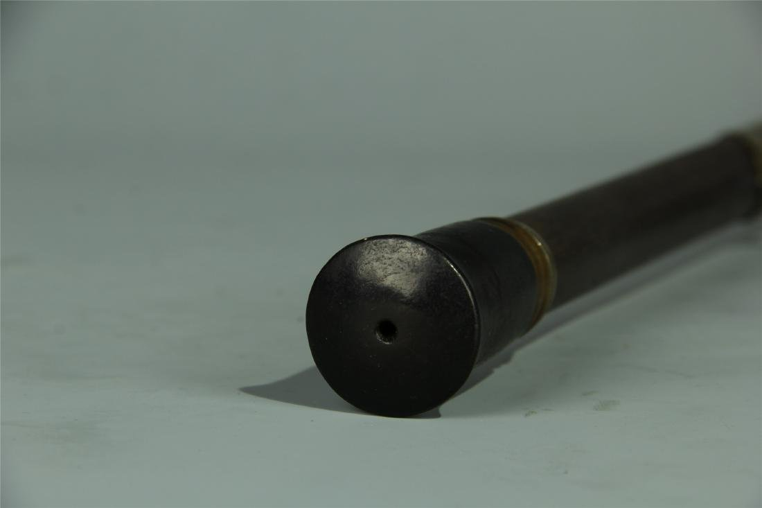 HARDWOOD BRONZE COATED OPIUM PIPE - 6