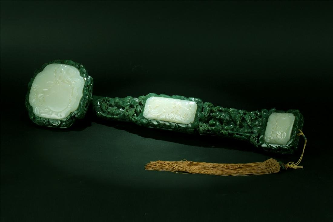 WHITE JADE INLAID SPANICH JADE CARVED RUYI