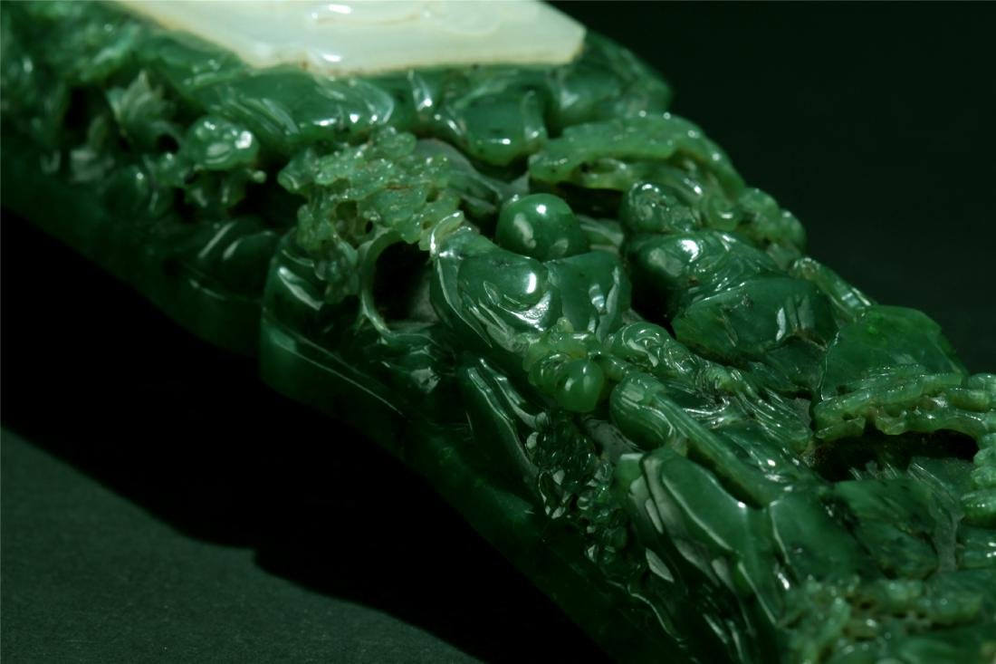 WHITE JADE INLAID SPANICH JADE CARVED RUYI - 6