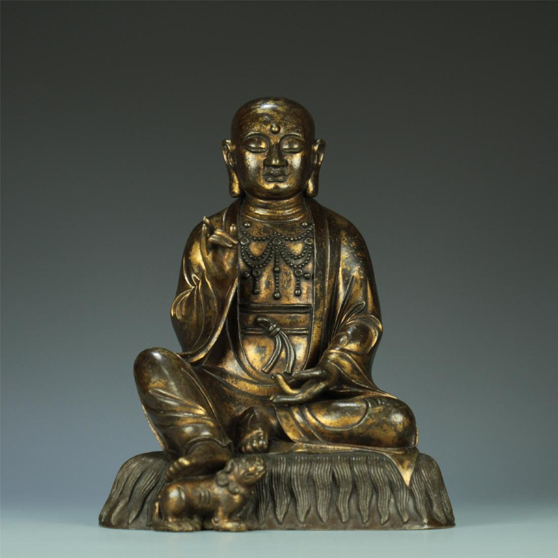 GILT BRONZE SEATED AMITABHA BUDDHA