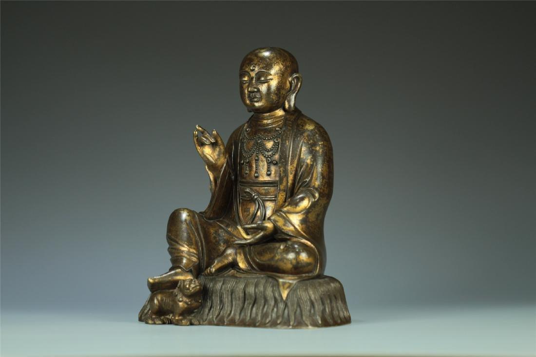 GILT BRONZE SEATED AMITABHA BUDDHA - 2