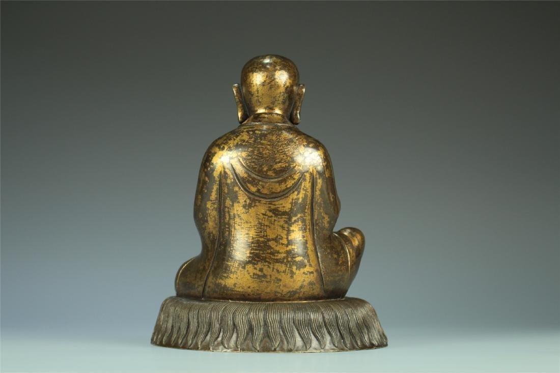 GILT BRONZE SEATED AMITABHA BUDDHA - 3