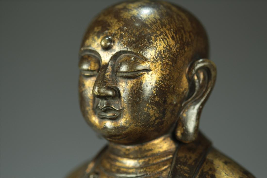 GILT BRONZE SEATED AMITABHA BUDDHA - 4