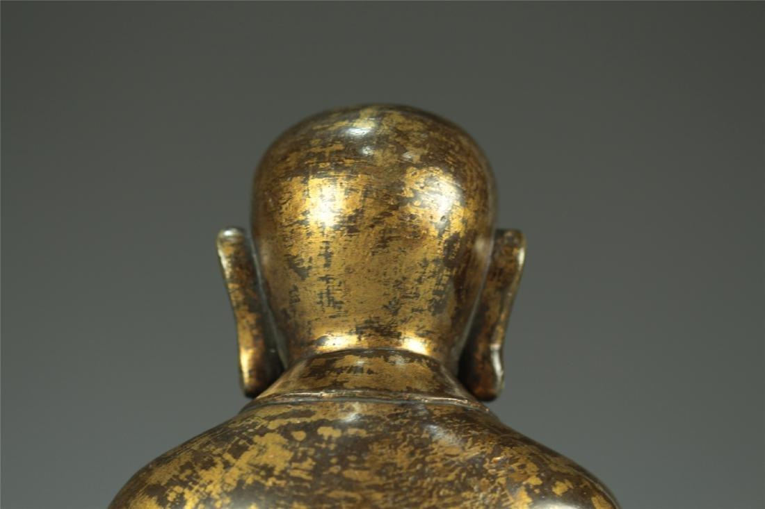 GILT BRONZE SEATED AMITABHA BUDDHA - 5