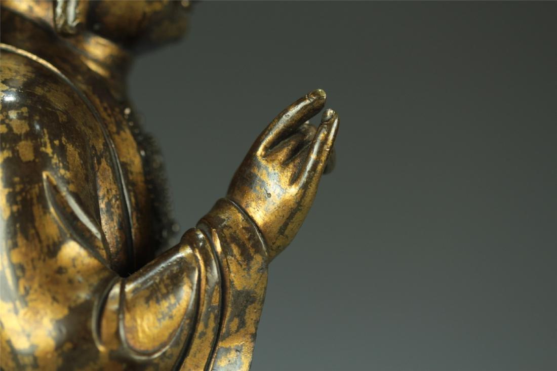 GILT BRONZE SEATED AMITABHA BUDDHA - 7