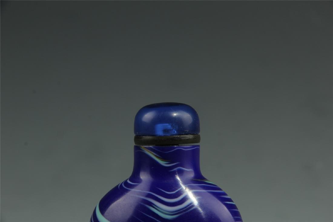 BLUE PEKING GLASS SNUFF BOTTLE - 4