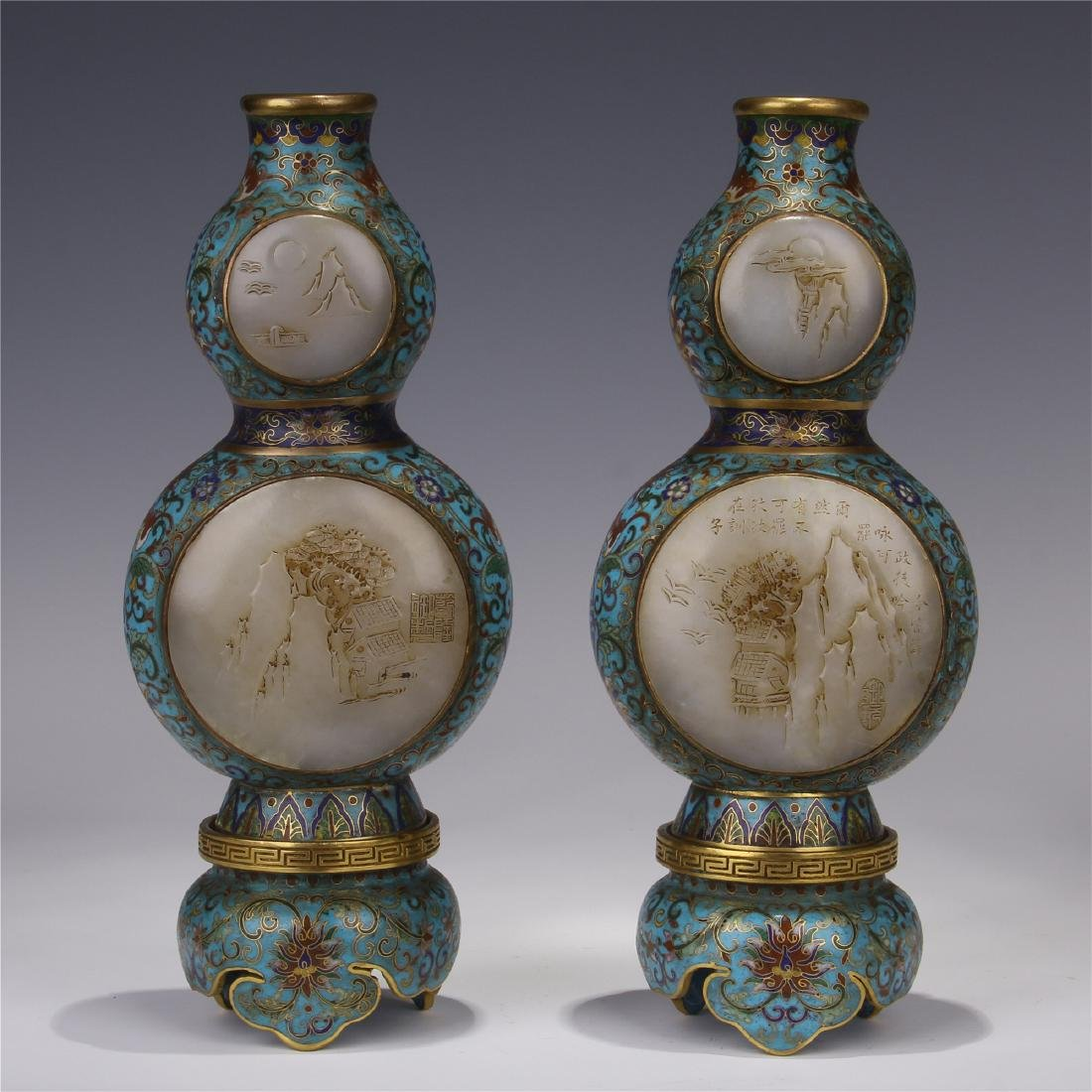 PAIR OF CHINESE WHITE JADE PLAQUE INLAID CLOISONNE