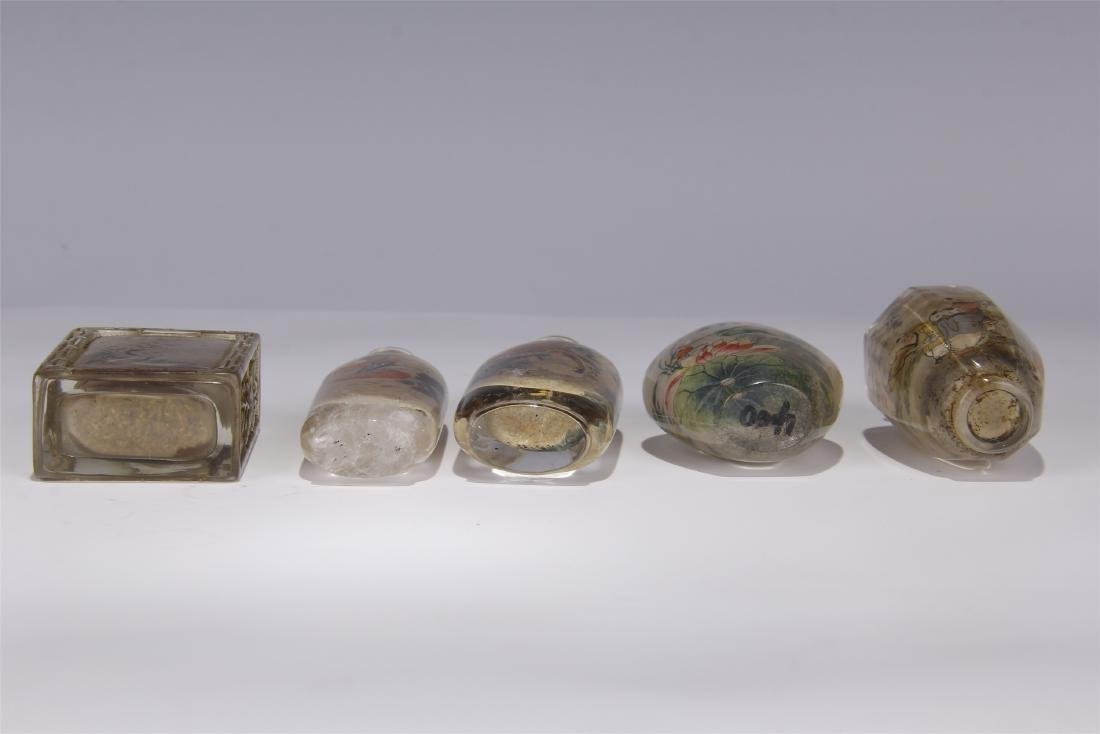 FIVE CHINESE ROCK CRYSTAL INSIDE PAINTED SNUFF BOTTLES - 10