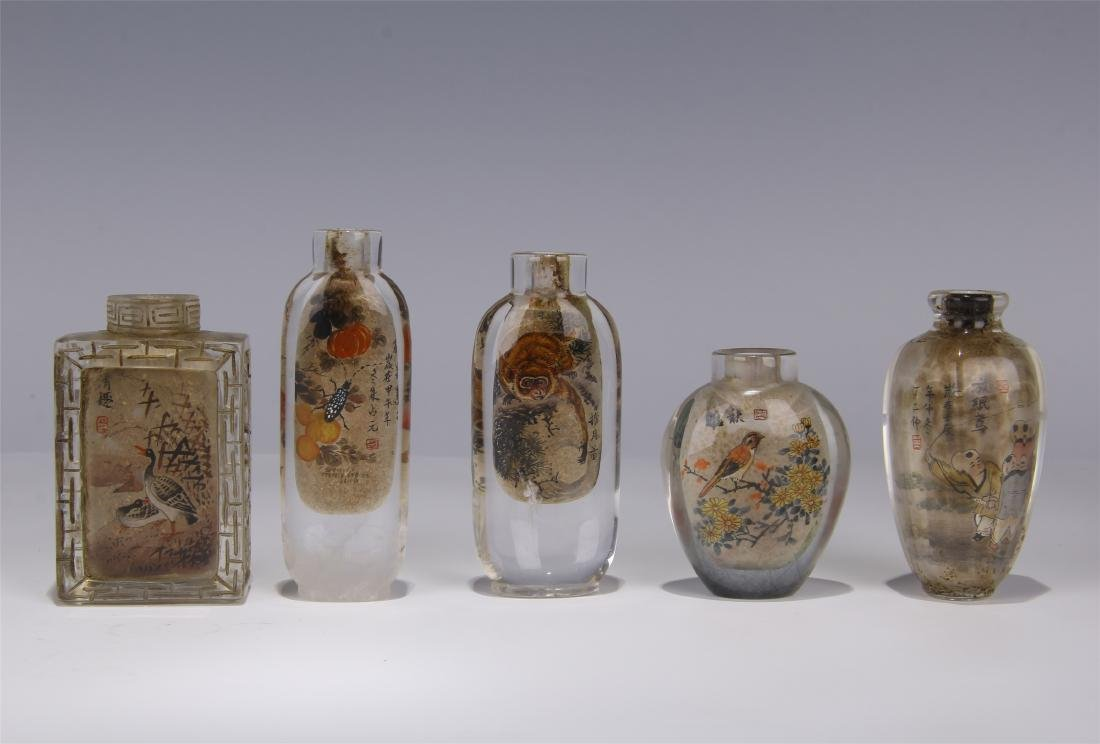 FIVE CHINESE ROCK CRYSTAL INSIDE PAINTED SNUFF BOTTLES