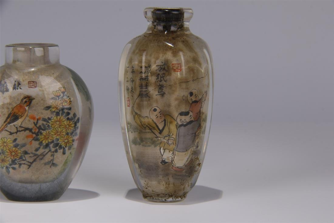 FIVE CHINESE ROCK CRYSTAL INSIDE PAINTED SNUFF BOTTLES - 2