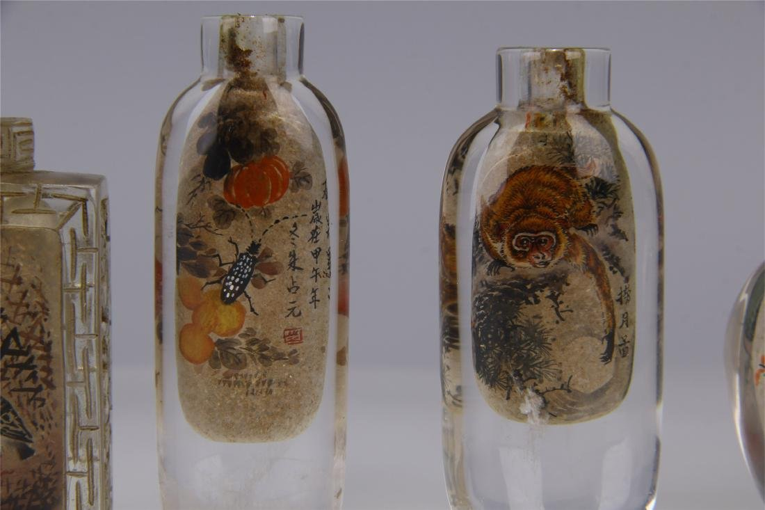 FIVE CHINESE ROCK CRYSTAL INSIDE PAINTED SNUFF BOTTLES - 3