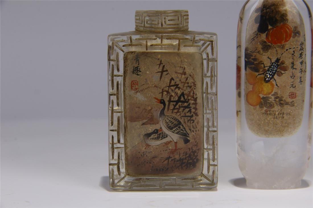 FIVE CHINESE ROCK CRYSTAL INSIDE PAINTED SNUFF BOTTLES - 4