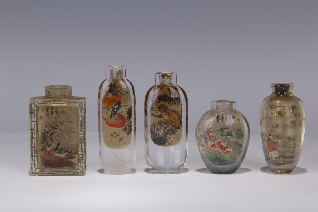 FIVE CHINESE ROCK CRYSTAL INSIDE PAINTED SNUFF BOTTLES - 5