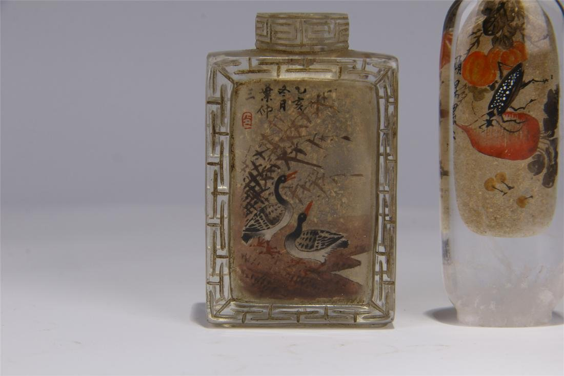 FIVE CHINESE ROCK CRYSTAL INSIDE PAINTED SNUFF BOTTLES - 6