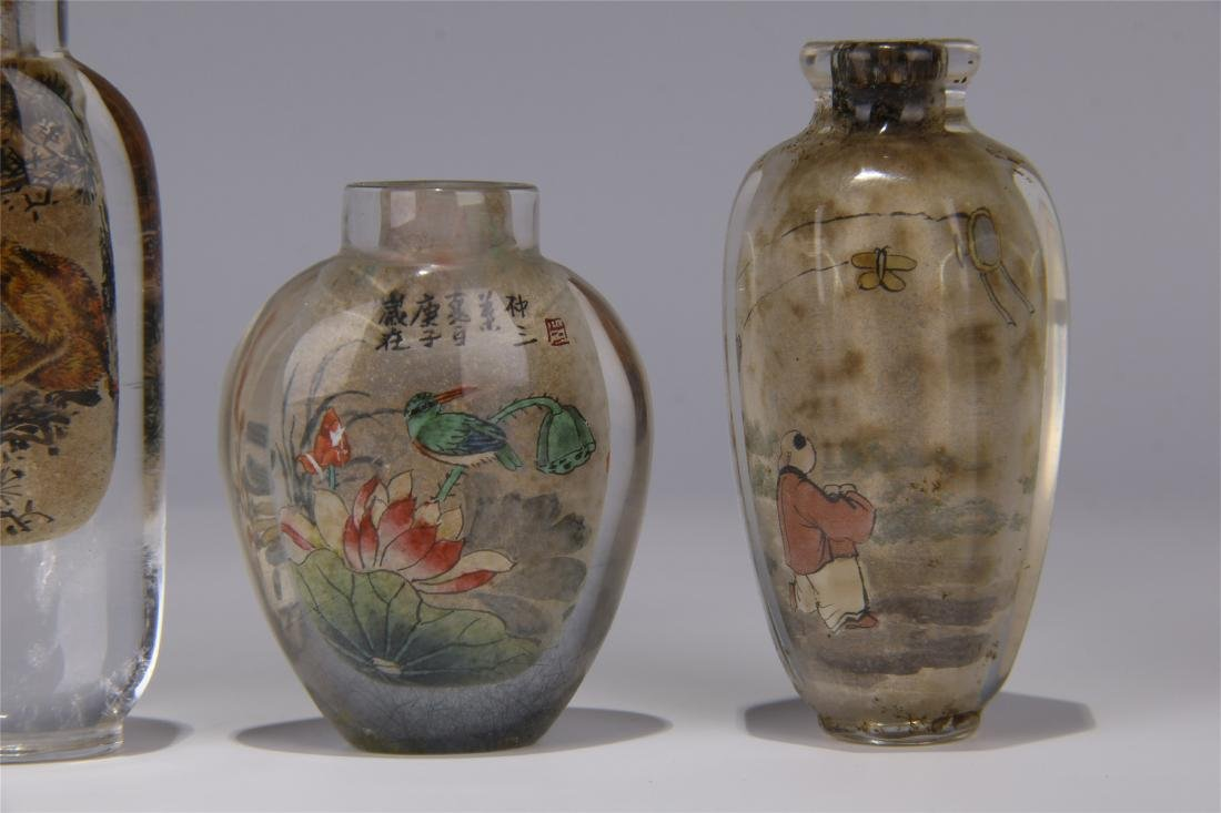FIVE CHINESE ROCK CRYSTAL INSIDE PAINTED SNUFF BOTTLES - 7