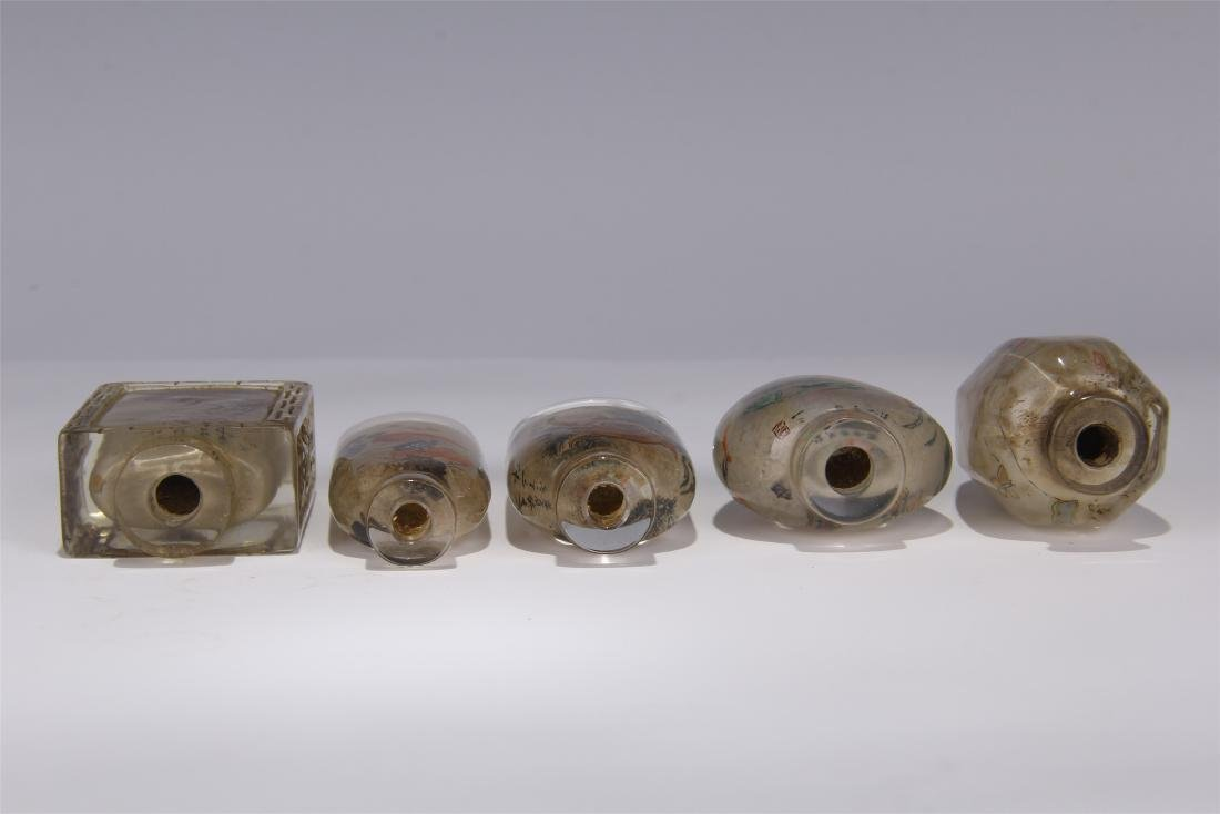 FIVE CHINESE ROCK CRYSTAL INSIDE PAINTED SNUFF BOTTLES - 9