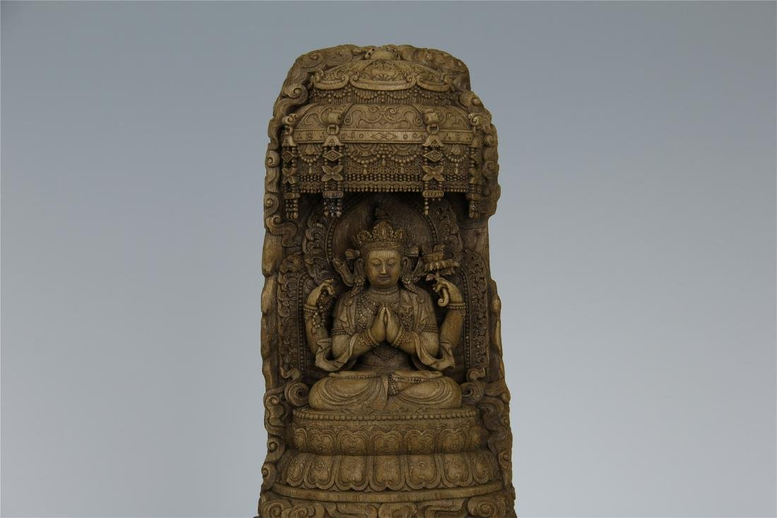 CHINESE AGALWOOD CRAVED SEATED GUANYIN - 2