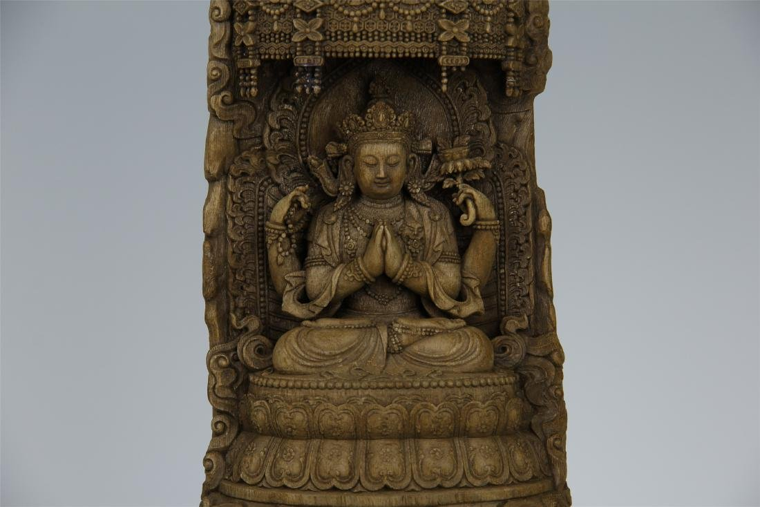 CHINESE AGALWOOD CRAVED SEATED GUANYIN - 3