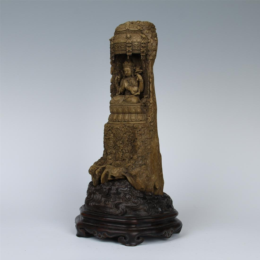 CHINESE AGALWOOD CRAVED SEATED GUANYIN - 8