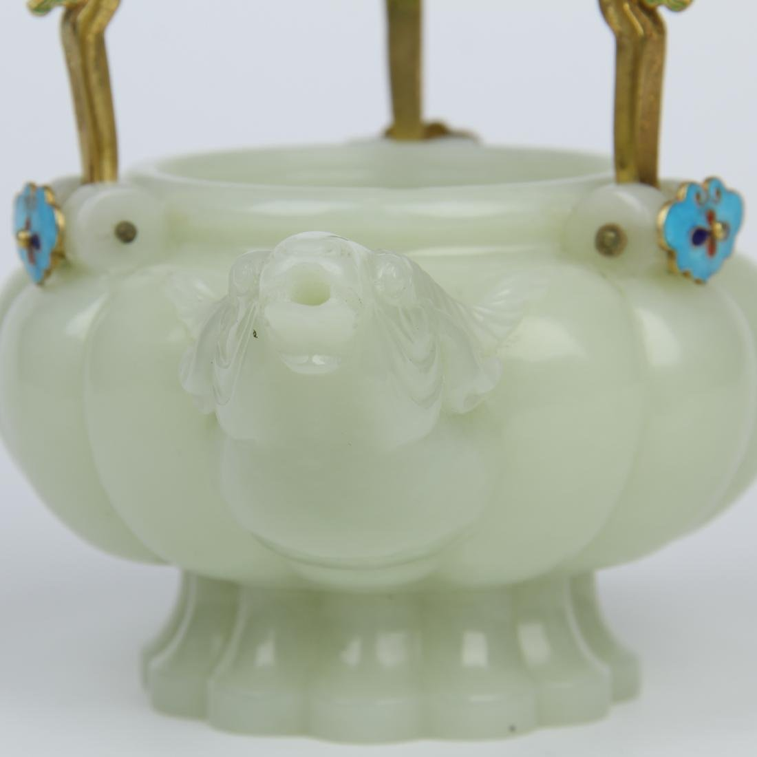 CHINESE JADE RAM HEAD KETTLE WITH GILT BRONZE HANDLE - 10