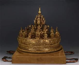 CHINESE GILT BRONZE SEATED BUDDHA ON ROUND BASE