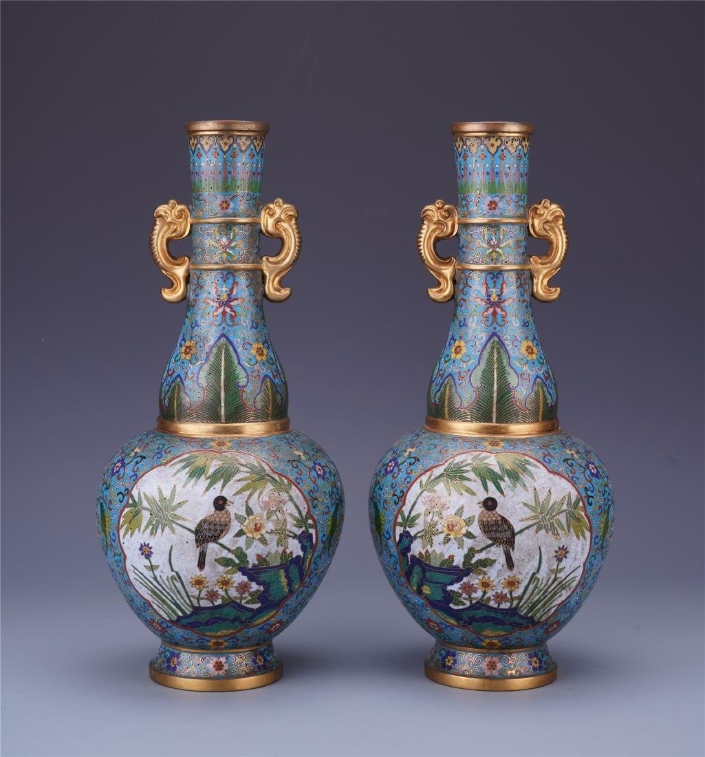 PAIR OF CHINESE CLOISONNE BIRD AND FLOWER VASES