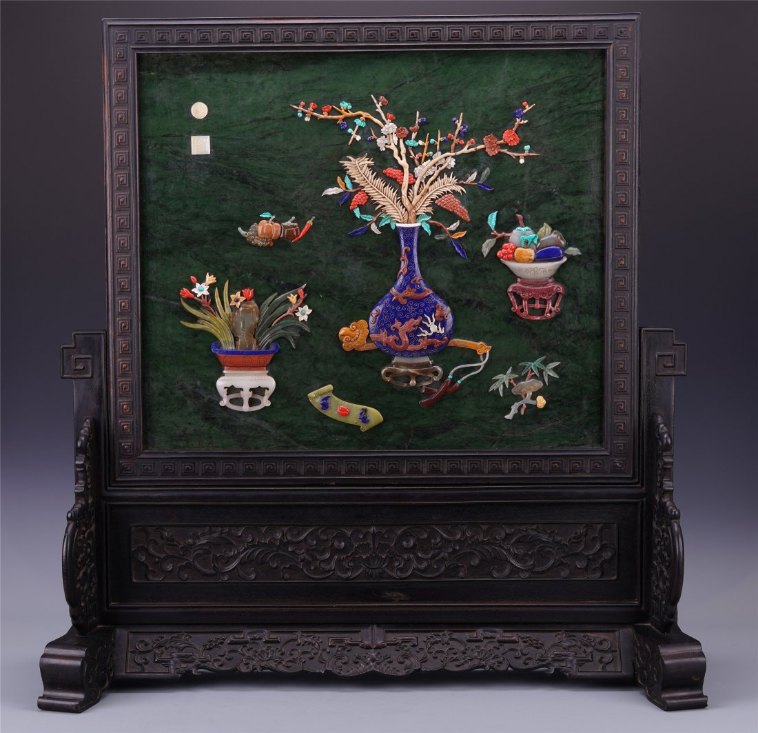 CHINESE GEM STONE INLAID PLAQUE ROSEWOOD TABLE SCREEN