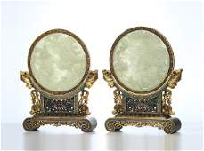 PAIR OF CHINESE JADE ROUND PLAQUE CLOISONNE TABLE