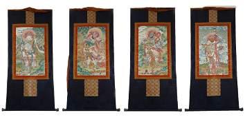 FOUR TIBETAN THANGKA OF BUDDHIST GUARDIAN