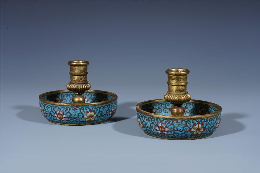PAIR OF CHINESE CLOISONNE FLOWER CANDLE HOLDERS