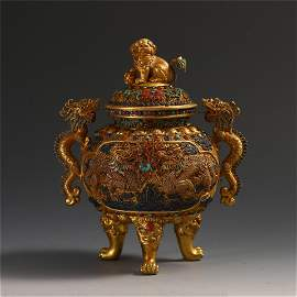 CHINESE GEM STONE INLAID PURE GOLD TRIPLE FEED DRAGON