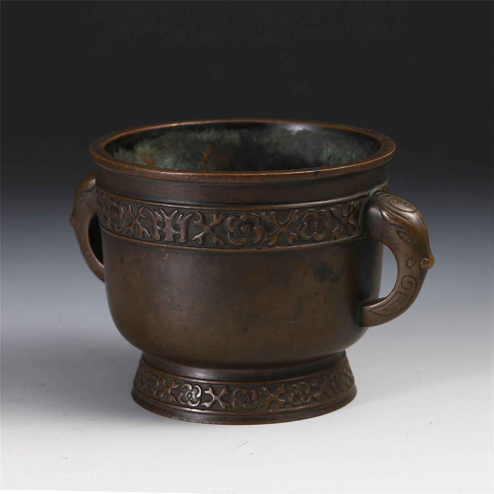 CHINESE BRONZE HANDLED ROUND CENSER