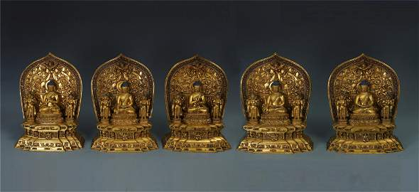 FIVE TIBETAN GILT BRONZE SEATED BUDDHA WITH GUARDIAN