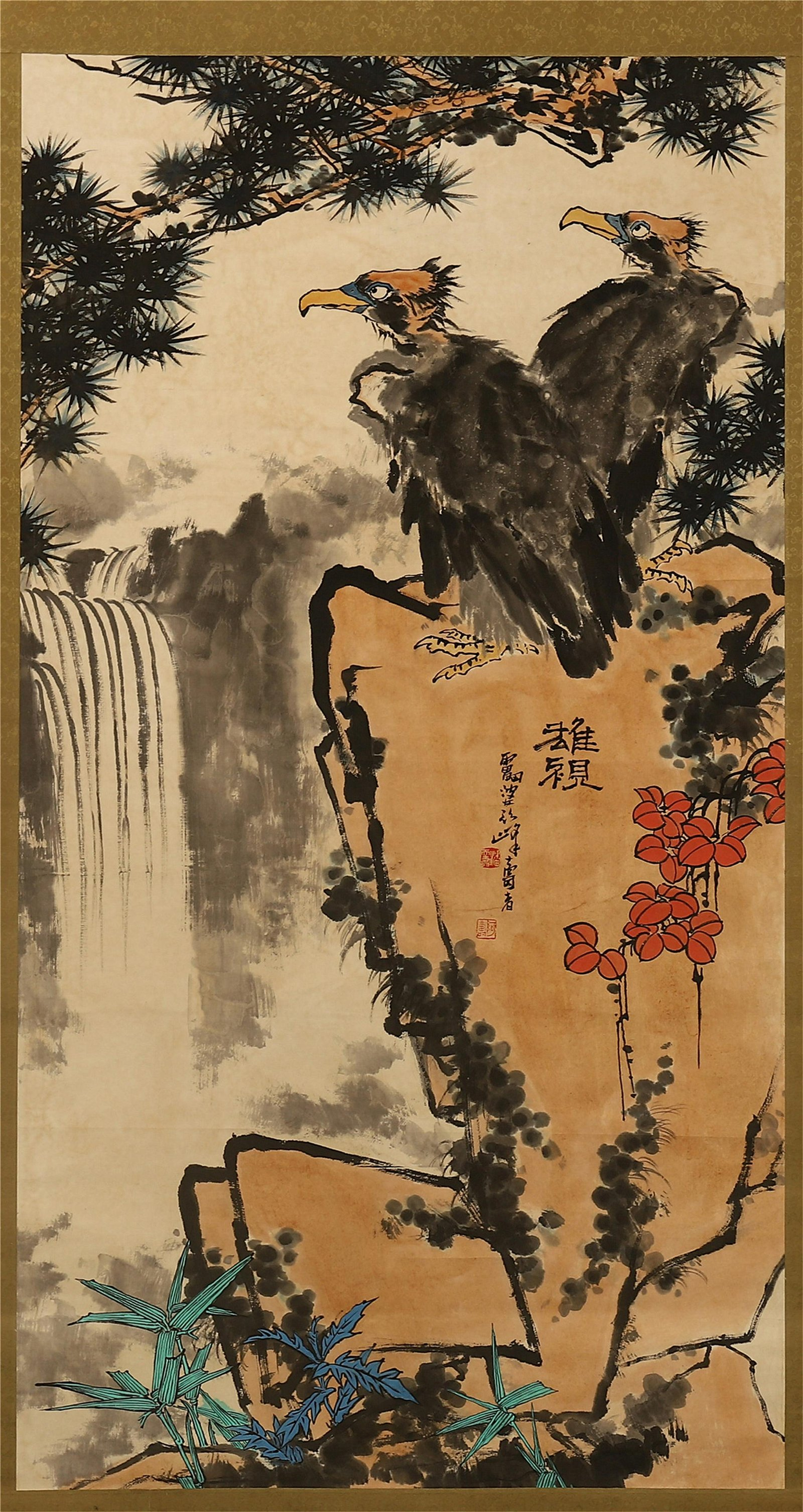 CHINESE SCROLL PAINTING OF EAGLE ON ROCK