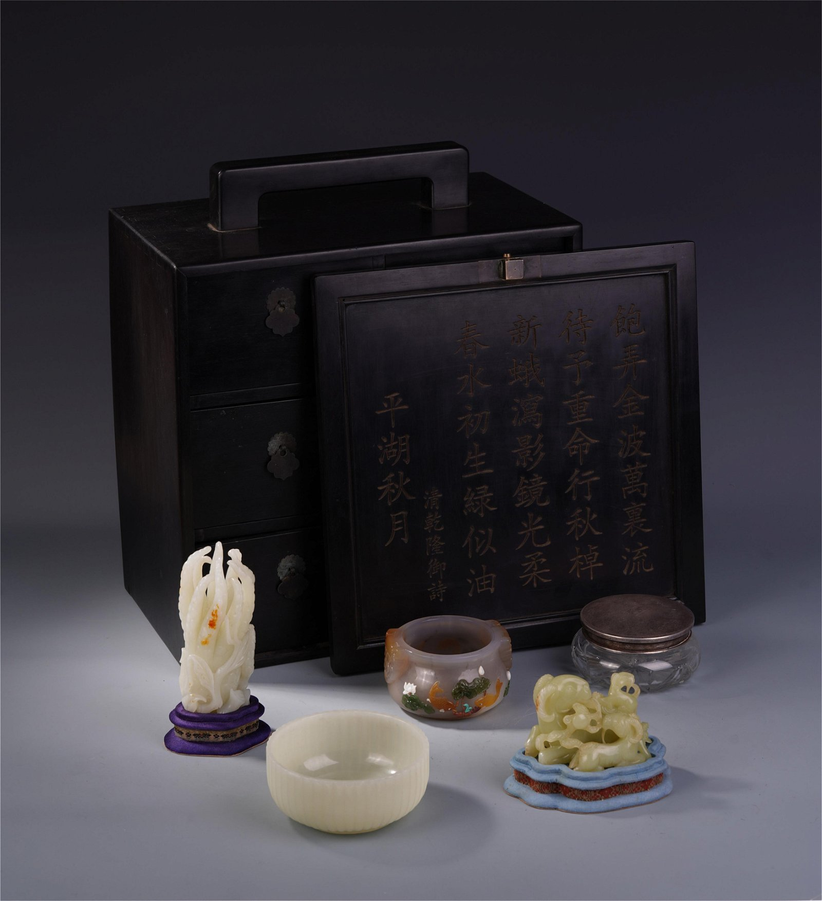 A SET OF CHINESE JADE AGATE SOAPSTONE SCHOLAR'S OBJECT