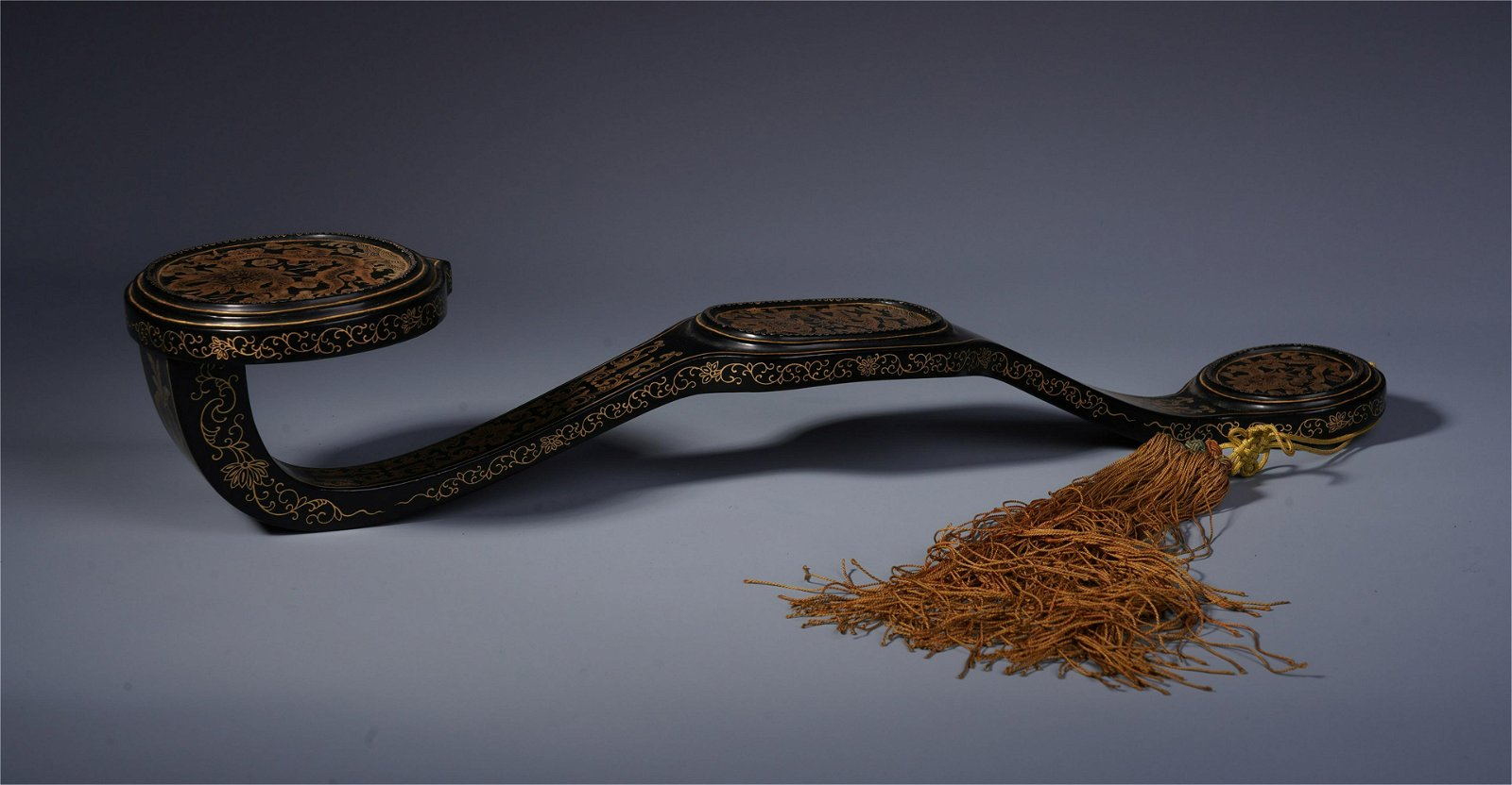 CHINESE GOLD PAINTED LACQUER RUYI SCEPTER