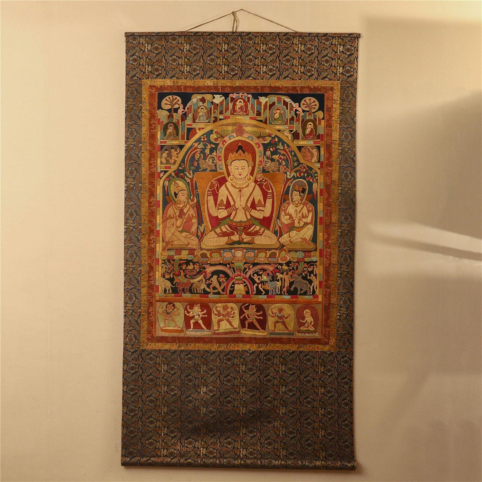 TIBETAN EMBROIDERY GOLD SILK THANGKA OF SEATED BUDDHA