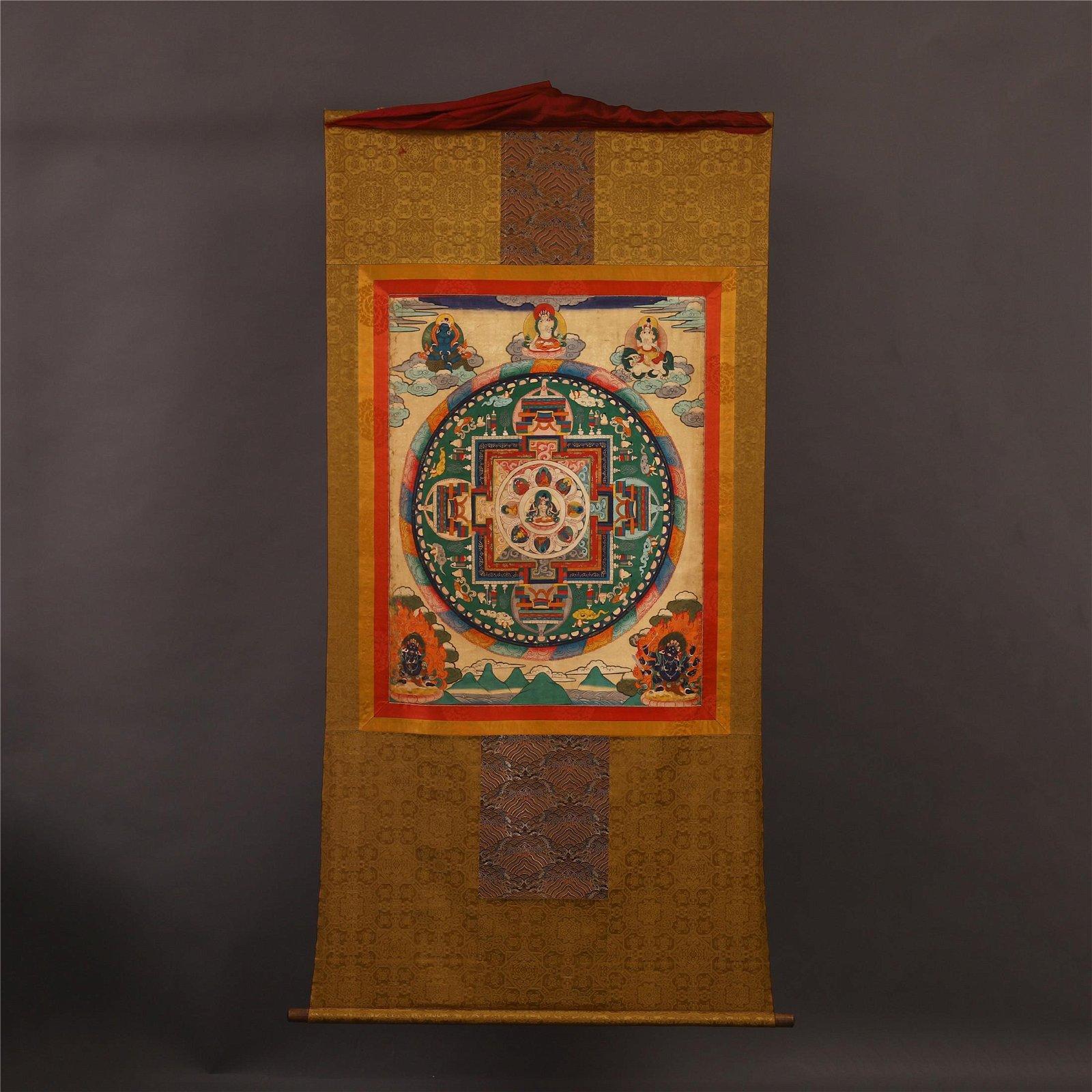 TIBETAN THANGKA OF SEATED BUDDHA