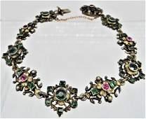 Austro Hungarian Silver Gilt Sapphire Emerald Bracelet